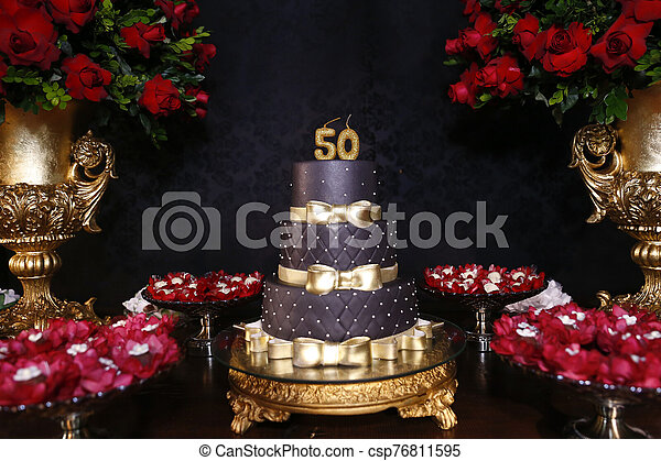 Astonishing Black 50Th Birthday Cake Black Birthday Cake With Golden Details Funny Birthday Cards Online Fluifree Goldxyz