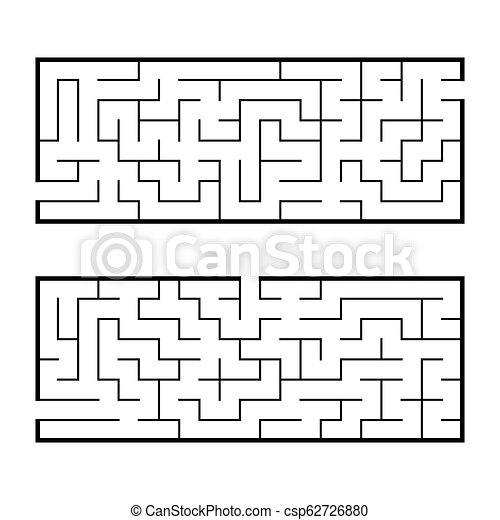 Black Abstract Rectangular Maze A Set Of Two Puzzles An