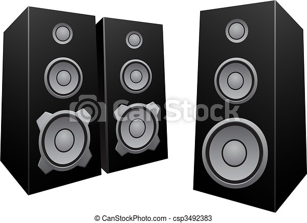speakers clipart. black abstract speakers - csp3492383 clipart
