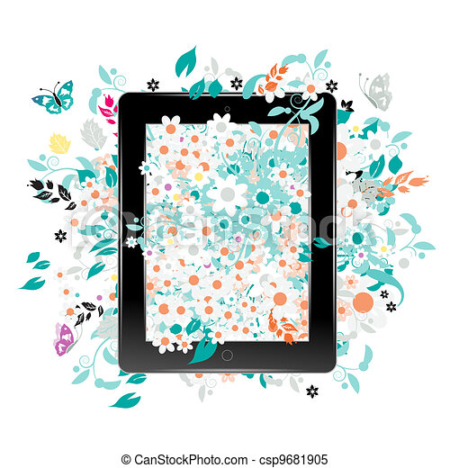 Black abstract tablet pc with floral decoration for your design - csp9681905