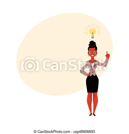 Black, African American businesswoman having idea, inspiring thought, business insight - csp48906693
