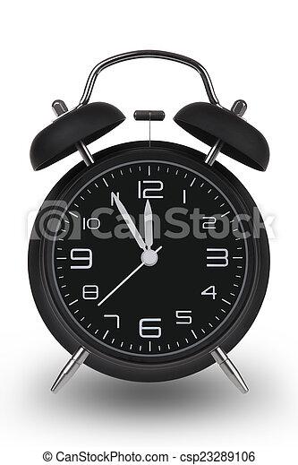 Black Alarm Clock With Hands At 5 Minutes Till 12 Black Alarm