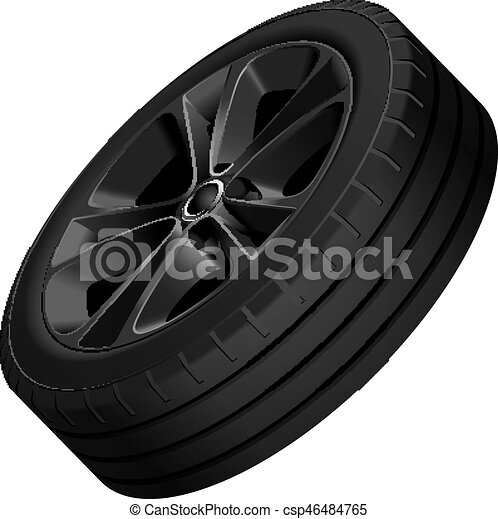 Black alloy wheel isolated - csp46484765
