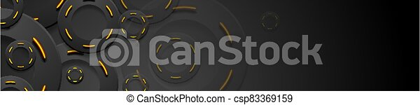 Black and glowing neon orange circles abstract background - csp83369159