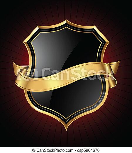 Black and gold shield and ribbon - csp5964676