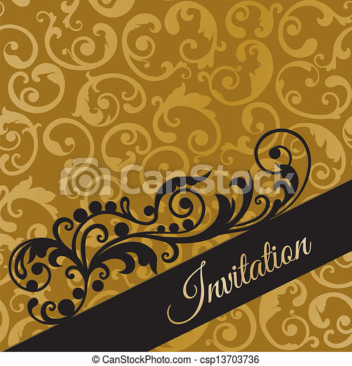 Black and gold swirls invitation luxury black and gold vectors black and gold swirls invitation csp13703736 stopboris Image collections