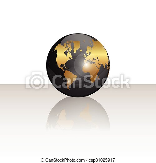 Black and Gold World Globe Illustration - csp31025917