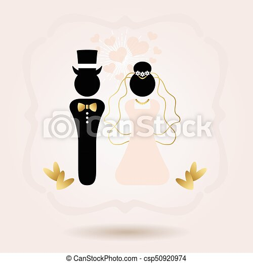 Black And Golden Abstract Bride And Groom Symbol Icons On Pink