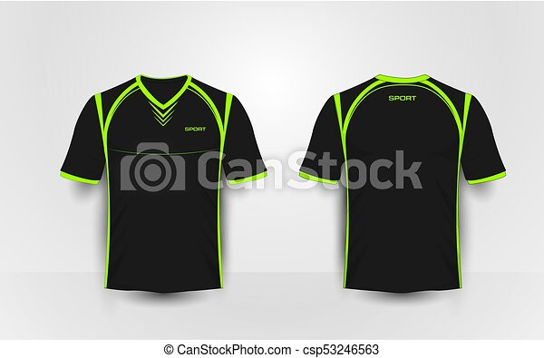 T Shirt Design Line Art : Black and green sport football kits jersey t shirt design clip