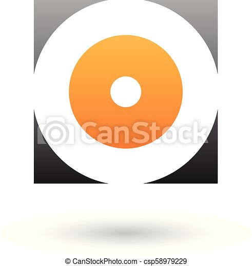 Black and Orange Square Icon of a Thick Letter O Vector Illustration - csp58979229