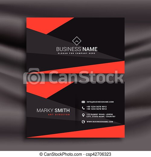Black and red business card template with polygonal shapes vector black and red business card template with polygonal shapes csp42706323 wajeb Images