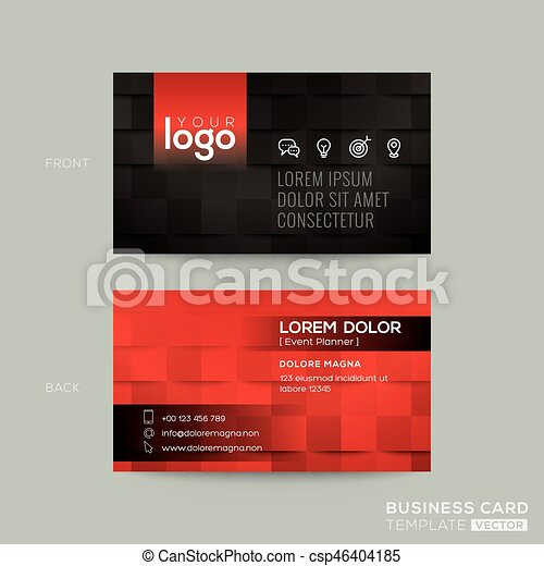 Black And Red Business Card With Tile Background Black And Red