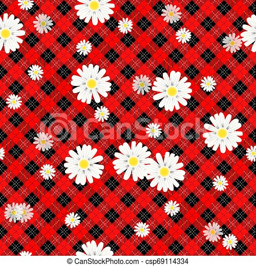 Black and red tartan plaid and daisy flowers pattern on checkered background for textile eps 10 - csp69114334