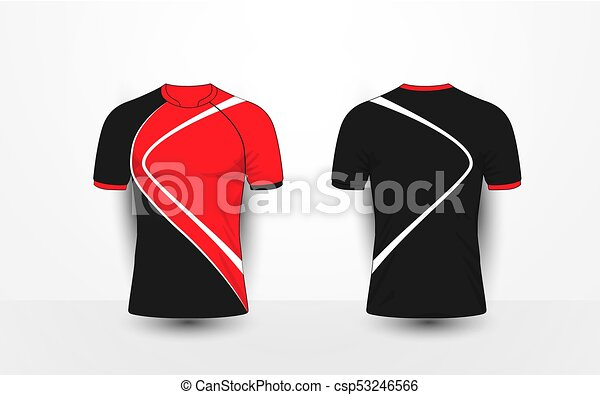 T Shirt Design Line Art : Black and red with white lines sport football kits jersey clip