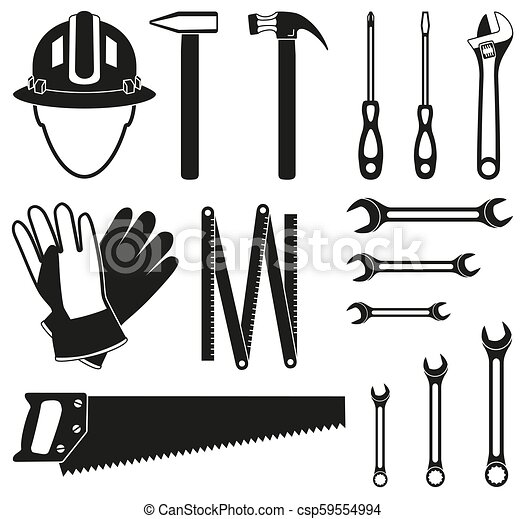 Black and white 15 handyman tools silhouette set - csp59554994