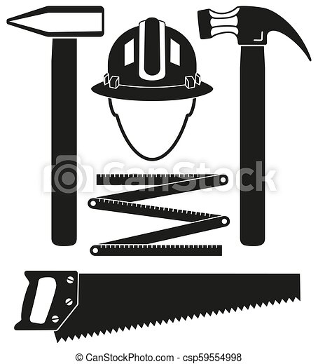 Black and white 5 handyman tools silhouette set - csp59554998