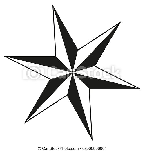 Christmas Star Silhouette.Black And White 6 Point Star Silhouette