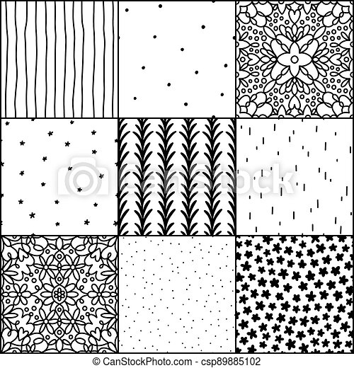 Black and white abstract and simple doodle seamless patterns collection - csp89885102