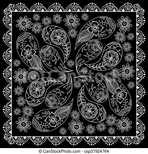 Black And White Abstract Bandana Print With Element Henna Style Simple Bandana Pattern