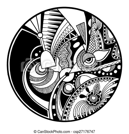 Black and white abstract zendala on circle - csp27176747