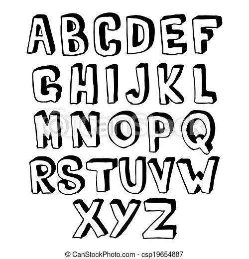 Black and white alphabet volume - csp19654887