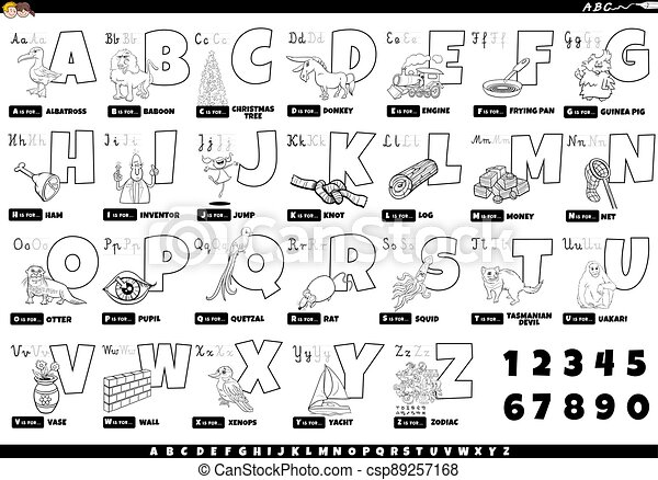 Black And White Alphabet With Cartoon Characters And Objects Set Black And White Cartoon Illustration Of Capital Letters Canstock