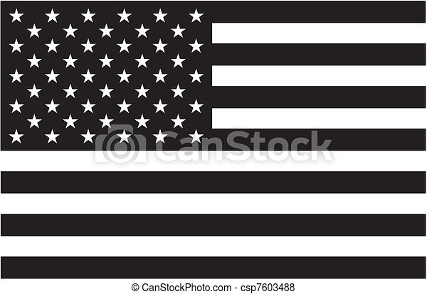 Black and white American flag - csp7603488