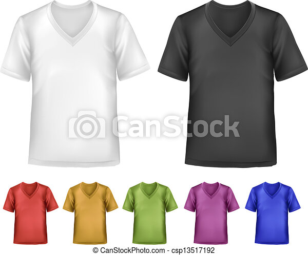 Black and white and color men polo t-shirts. Design template. Vector  - csp13517192