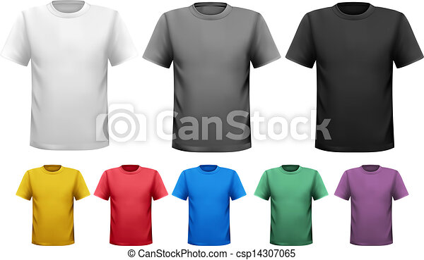 Black and white and color men t-shirts. design template.... clip art ...