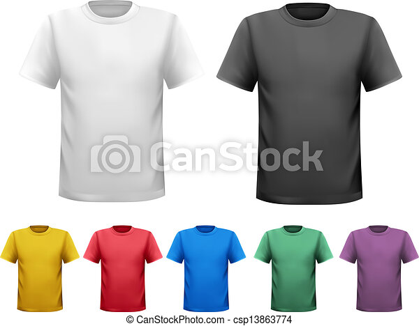 Black and white and color men t-shirts. Design template. Vector - csp13863774