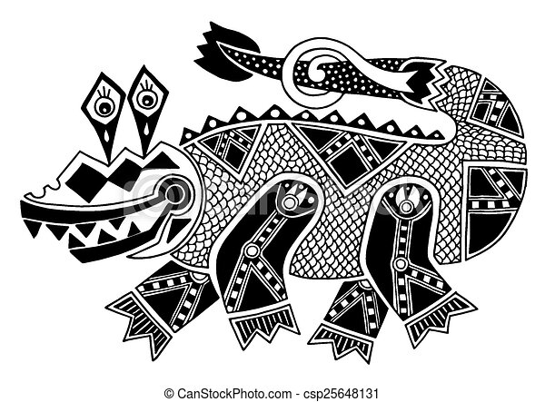 black and white authentic original decorative drawing of crocodi - csp25648131