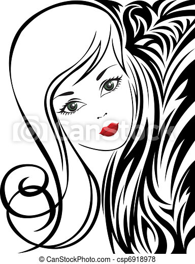 Black and white background with a girl csp6918978