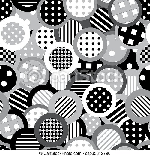 Black and white background with circles - csp35812796