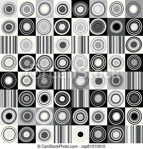 Black and white background with dots, circles and stripes - csp61010910