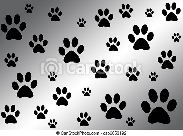 black and white background with paws  - csp6653192
