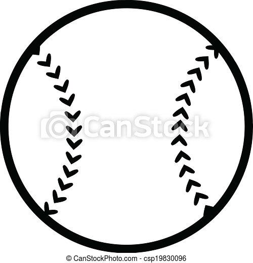 black and white baseball ball illustration isolated on white rh canstockphoto com
