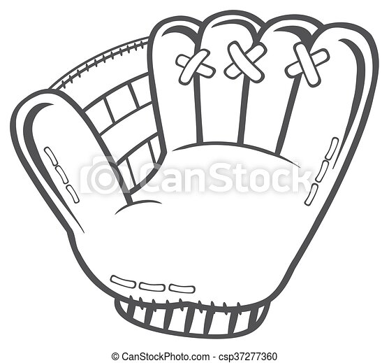 Black And White Baseball Glove - csp37277360