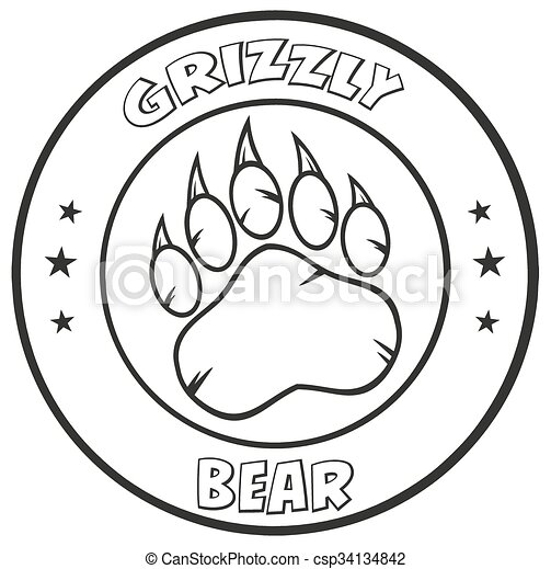Black And White Bear Paw Logo  - csp34134842