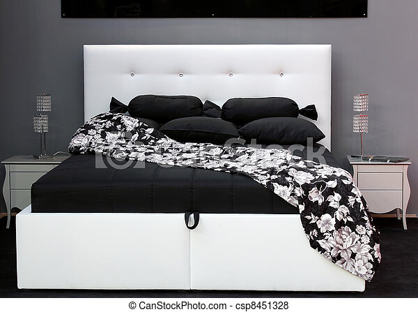 black and white bed - csp8451328