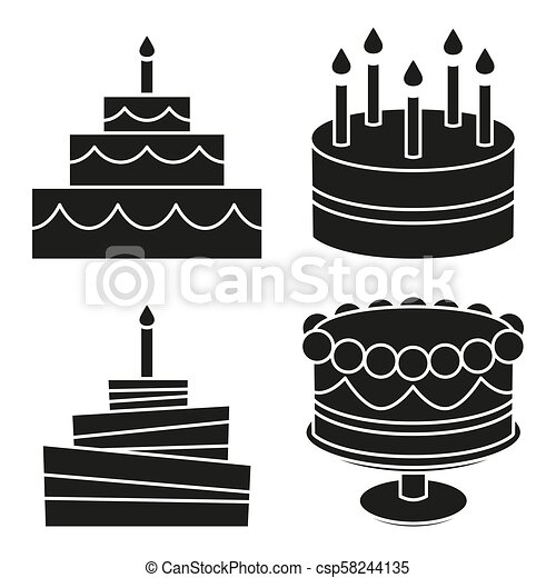 Astonishing Black And White Birthday Cake Silhouette Set Sweet Food Vector Personalised Birthday Cards Paralily Jamesorg