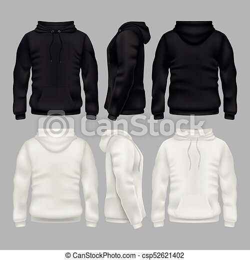 Black and white blank sweatshirt hoodie vector templates - csp52621402 4e02bf262839