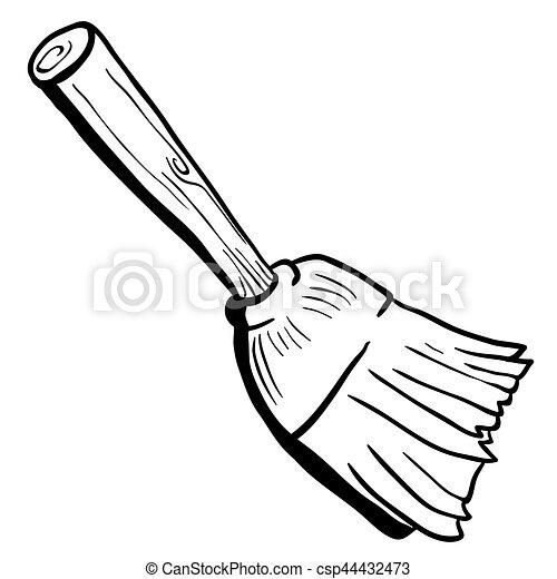 Black and white broom cartoon illustration vectors ... Broom Clipart Black And White