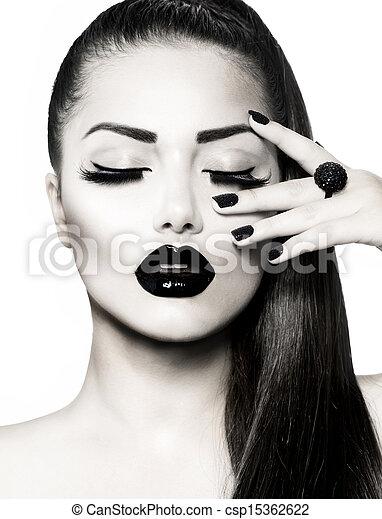 Black and White Brunette Girl Portrait. Trendy Caviar Manicure  - csp15362622