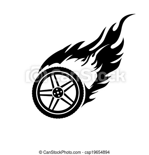 EPS Vectors of Black and white burning car wheel - Black ...
