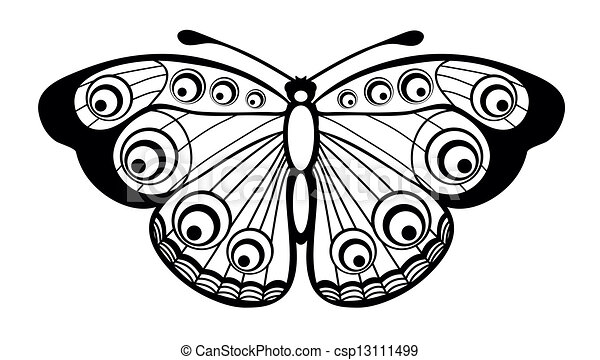 Black and white butterfly isolated csp13111499