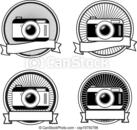 Black and white camera stamps vintage icons eps vectors ...