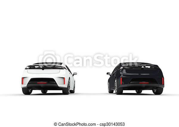 Black And White Cars Tail View