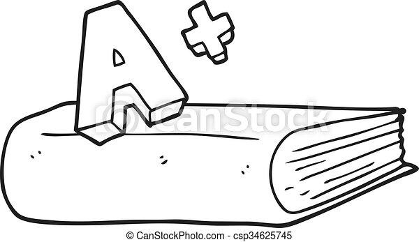 black and white cartoon A grade symbol and book - csp34625745