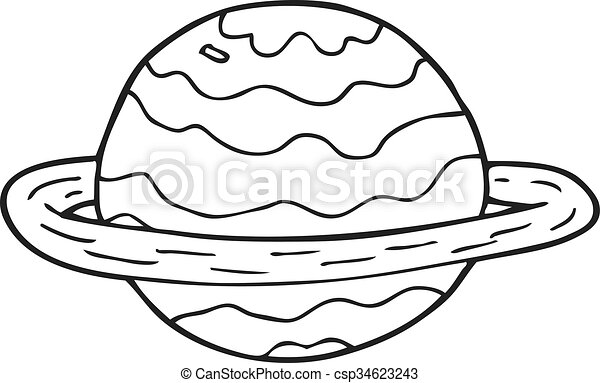 Freehand drawn black and white cartoon alien planet eps vector ...