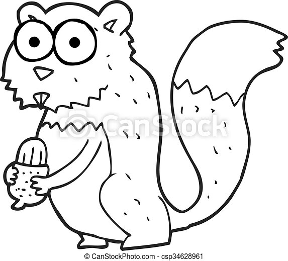 black and white cartoon angry squirrel with nut - csp34628961
